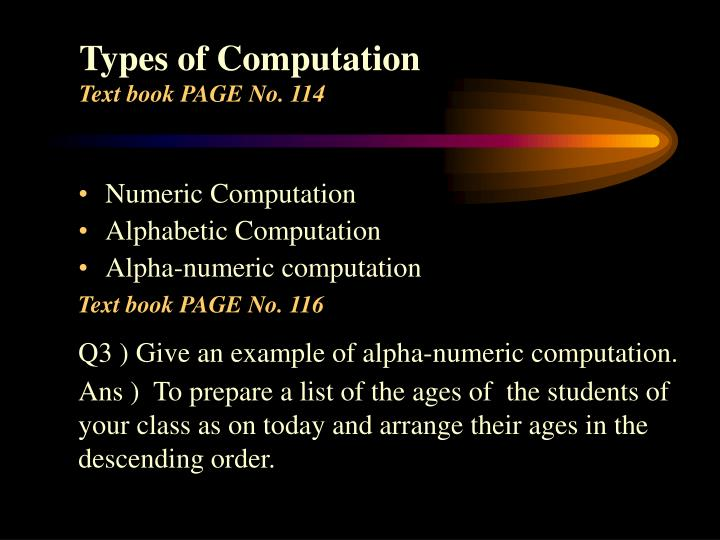 Types of Computation