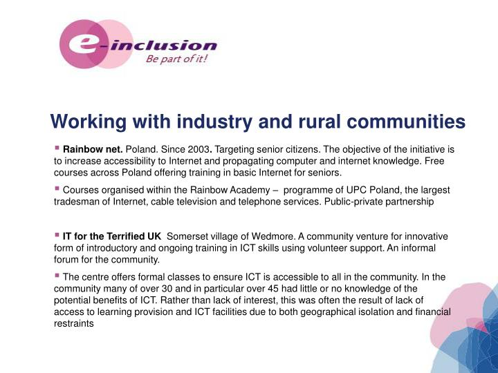 Working with industry and rural communities