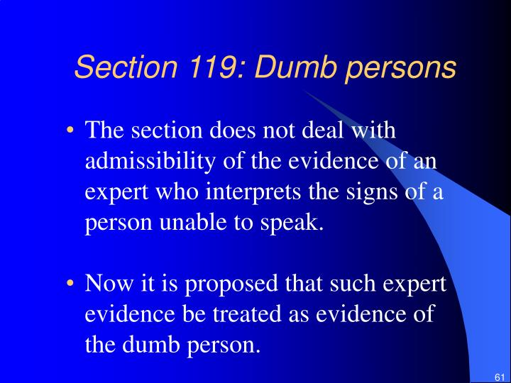 Section 119: Dumb persons