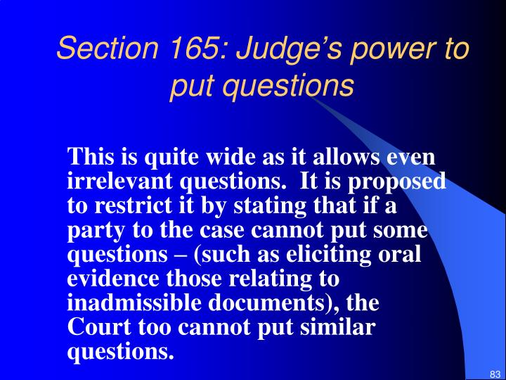 Section 165: Judge's power to put questions