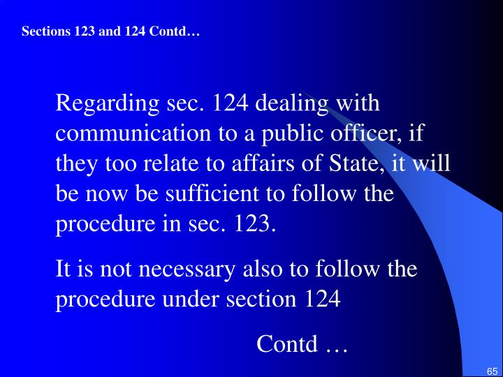 Sections 123 and 124 Contd…