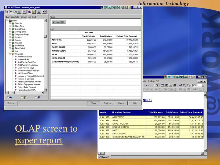 OLAP screen to paper report