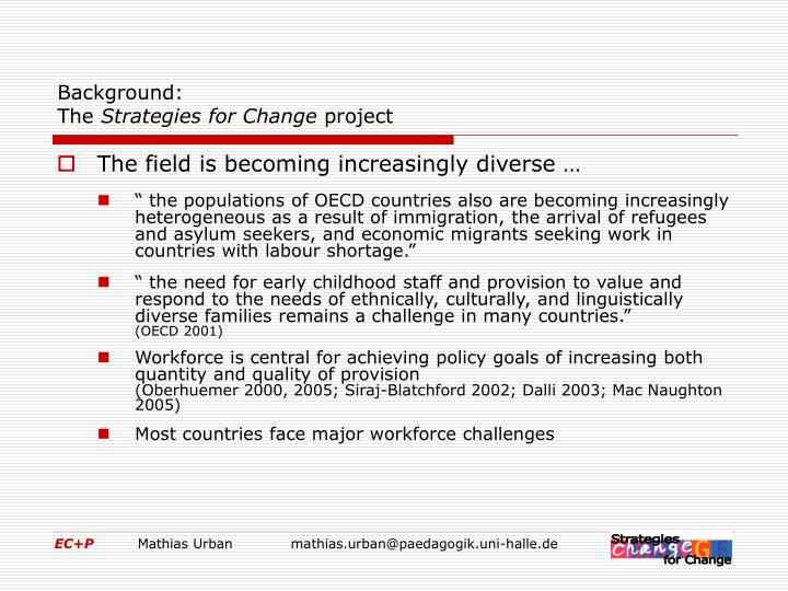 Background the strategies for change project1