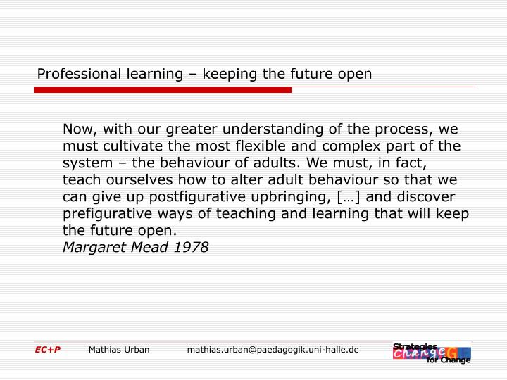 Professional learning – keeping the future open