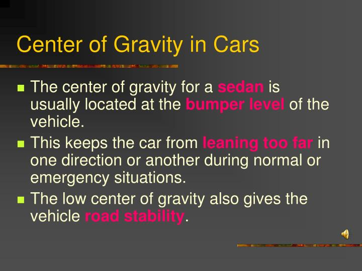 Center of Gravity in Cars