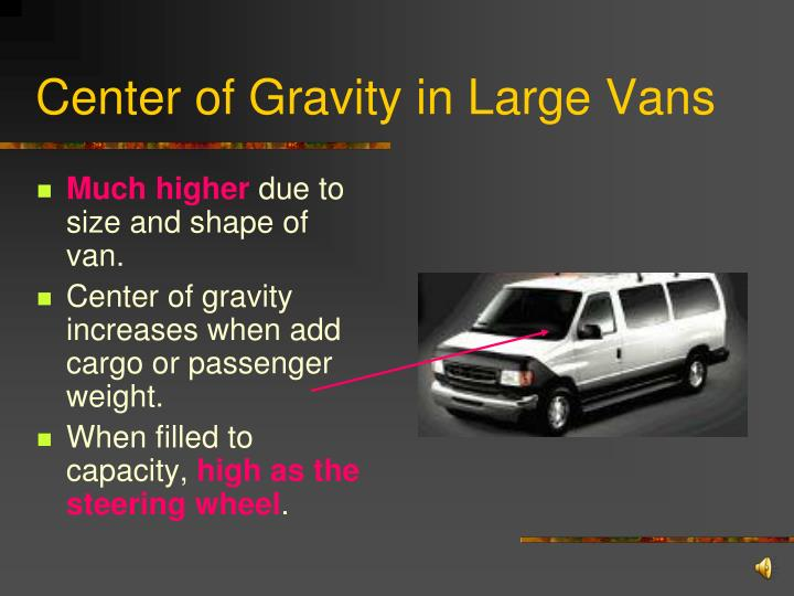 Center of Gravity in Large Vans
