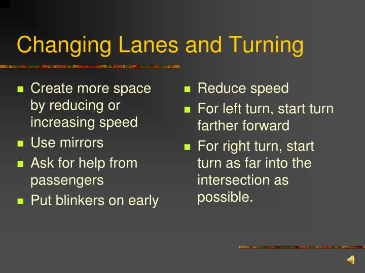 Create more space by reducing or increasing speed
