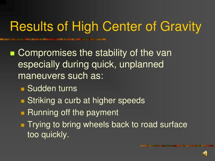 Results of High Center of Gravity
