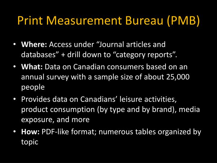 Print Measurement Bureau (PMB)
