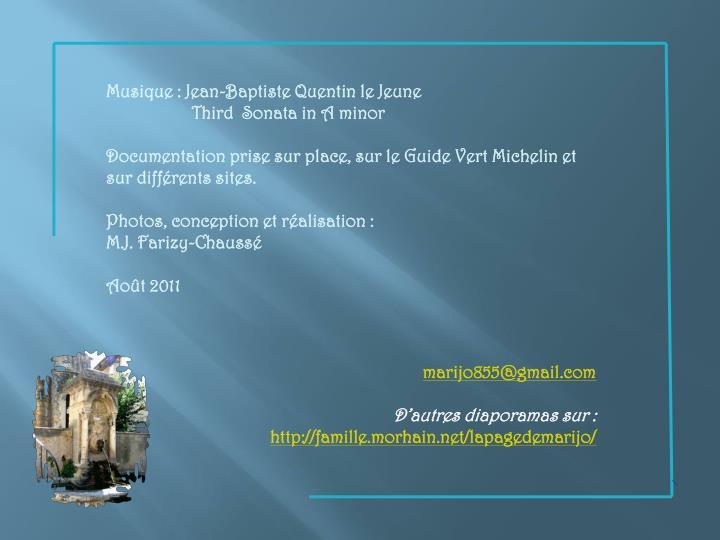 Musique : Jean-Baptiste Quentin le Jeune