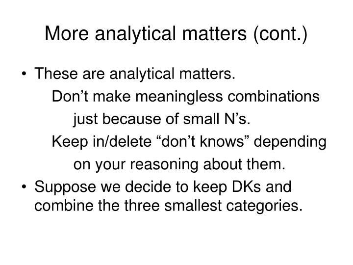 More analytical matters (cont.)