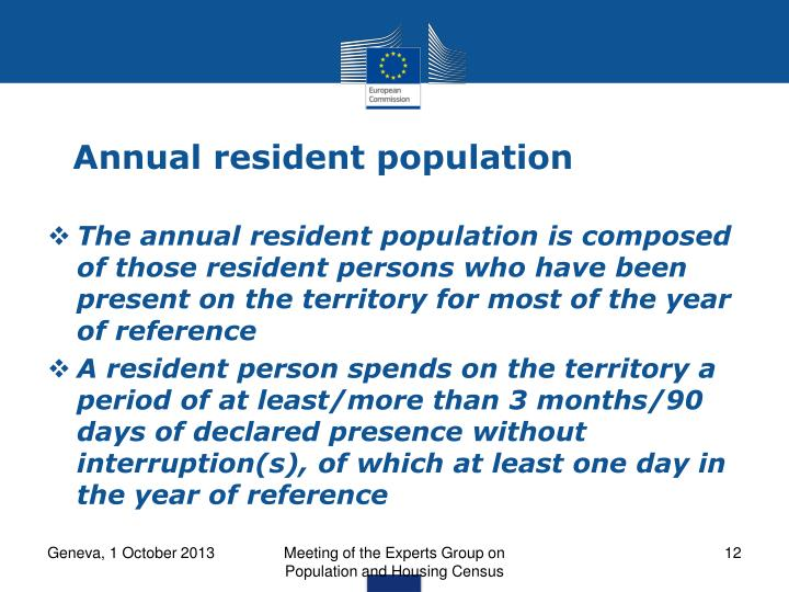 Annual resident population