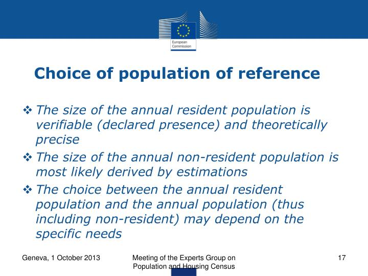 Choice of population of reference