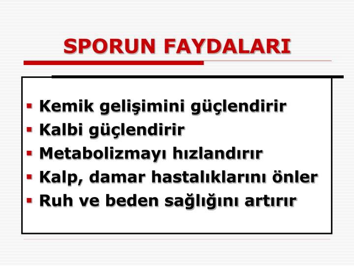 SPORUN FAYDALARI