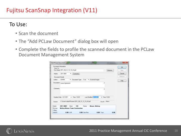 Fujitsu ScanSnap Integration (V11)
