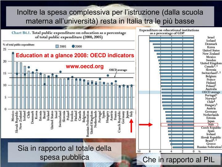 Inoltre la spesa complessiva per l'istruzione (dalla scuola materna all'università) resta in Italia tra le più basse