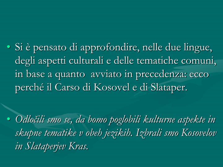Si è pensato di approfondire, nelle due lingue, degli aspetti culturali e delle tematiche comuni, in base a quanto  avviato in precedenza: ecco perché il Carso di Kosovel e di Slataper.