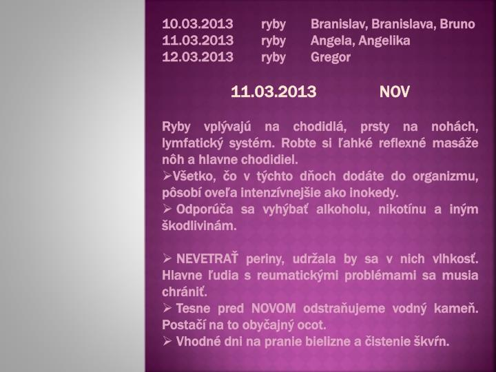 10.03.2013rybyBranislav, Branislava, Bruno