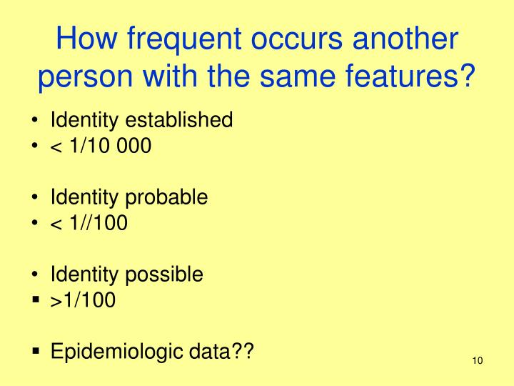 How frequent occurs another person with the same features?