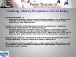 banking industry compliance issues today