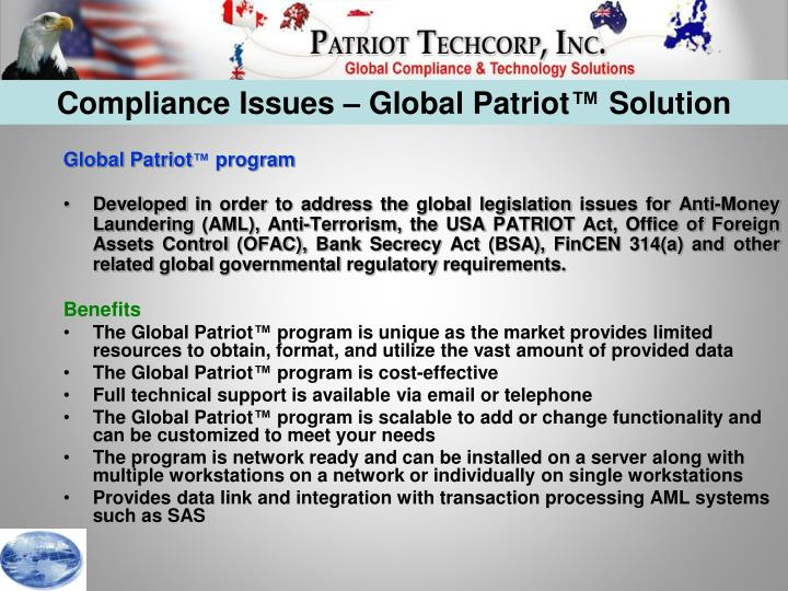 Compliance Issues – Global Patriot™ Solution