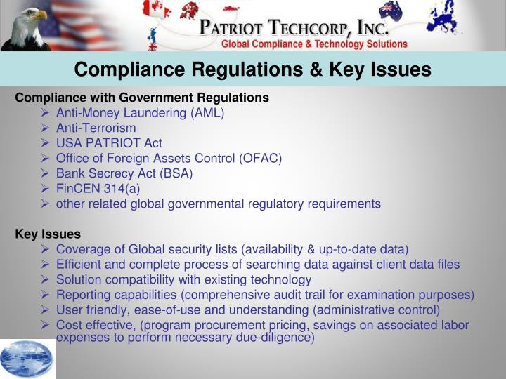 Compliance Regulations & Key Issues