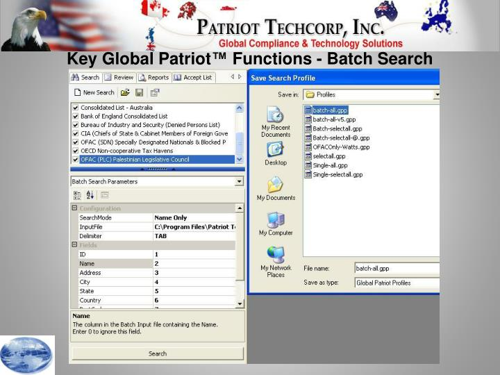 Key Global Patriot™ Functions - Batch Search