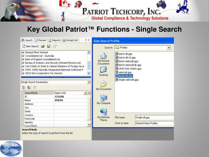 Key Global Patriot™ Functions - Single Search