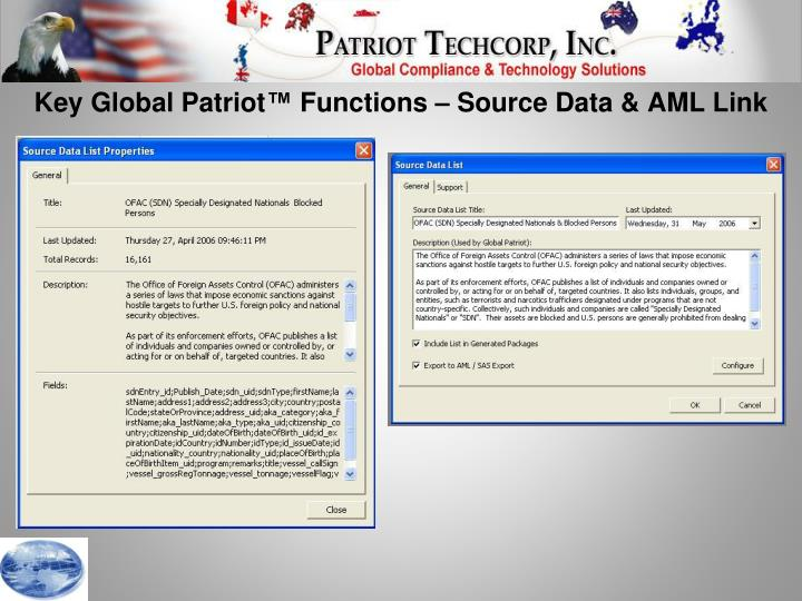Key Global Patriot™ Functions – Source Data & AML Link
