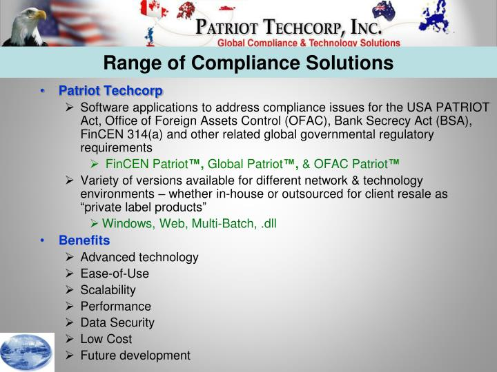 Range of Compliance Solutions