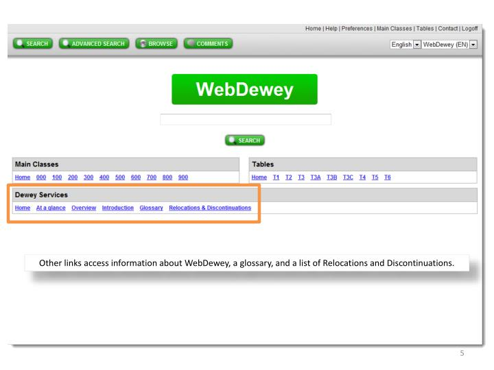 Other links access information about WebDewey, a glossary, and a list of Relocations and Discontinuations.