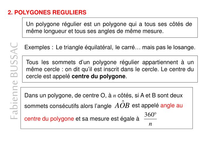 2. POLYGONES REGULIERS