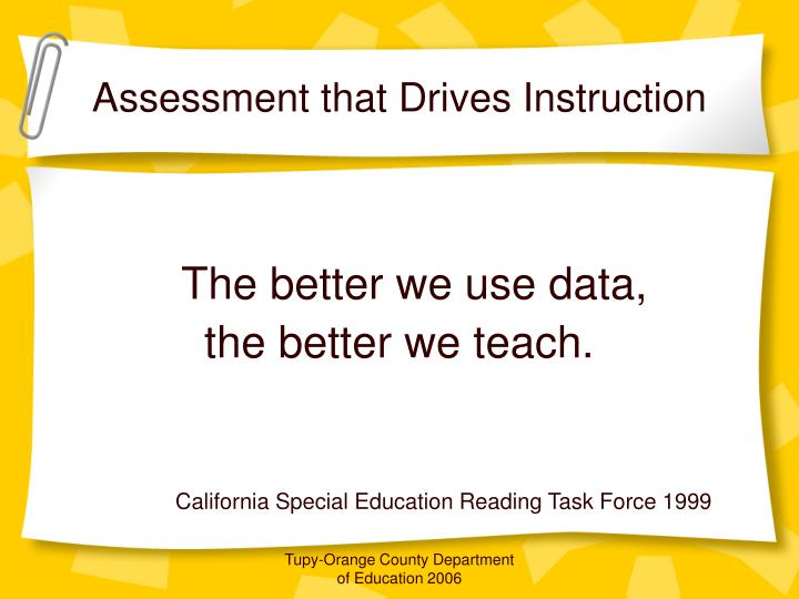 Assessment that Drives Instruction