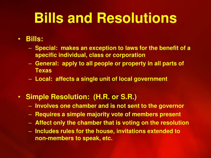 Bills and Resolutions
