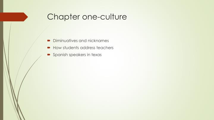 Chapter one-culture