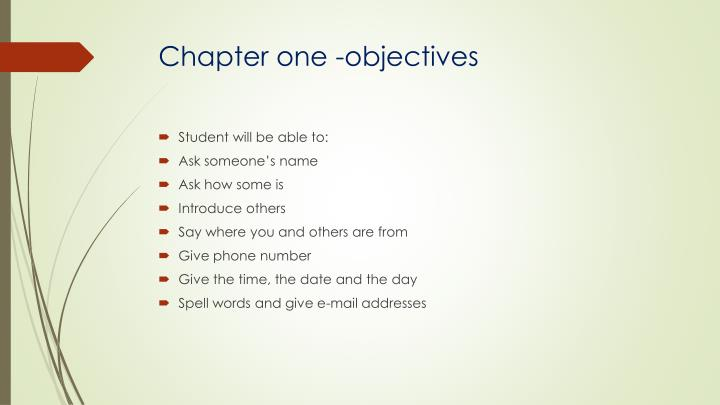 Chapter one -objectives
