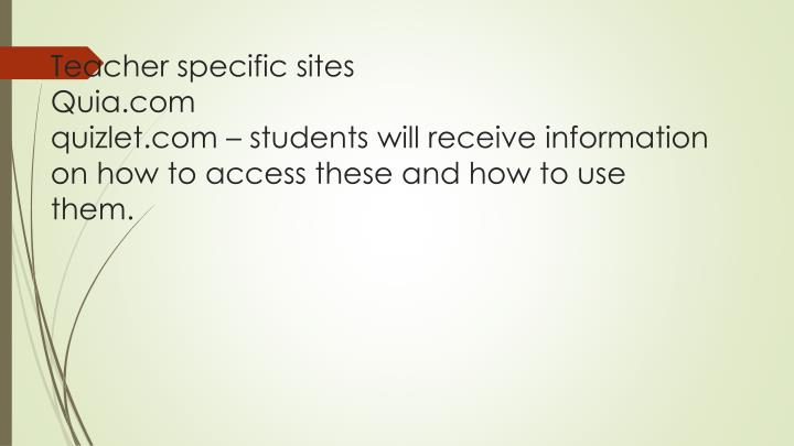 Teacher specific sites