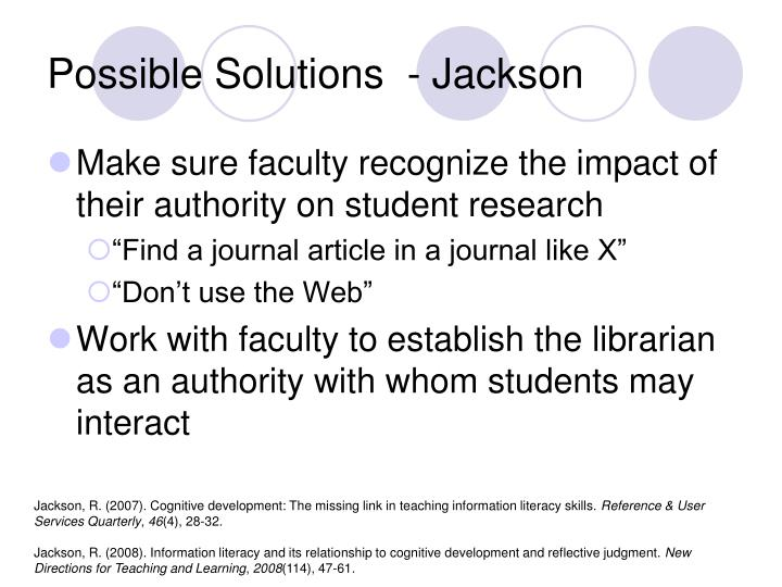 Possible Solutions  - Jackson