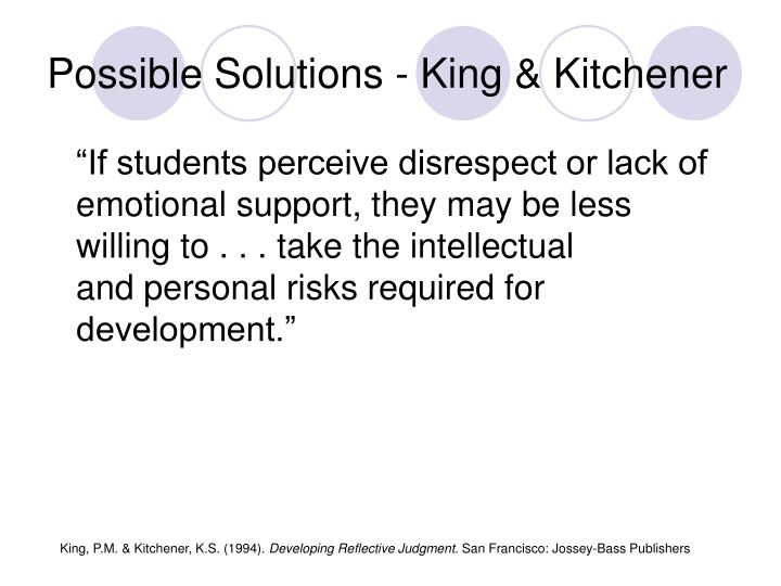 Possible Solutions - King & Kitchener