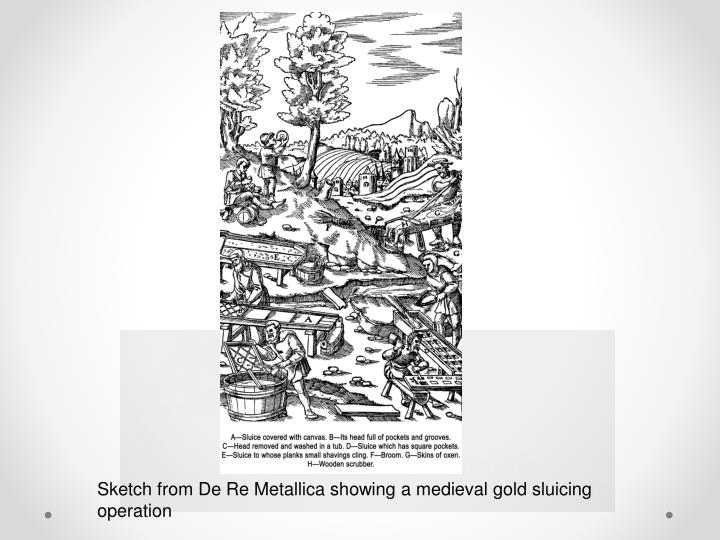 Sketch from De Re Metallica showing a medieval gold sluicing operation