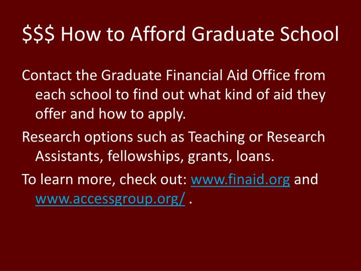 $$$ How to Afford Graduate School