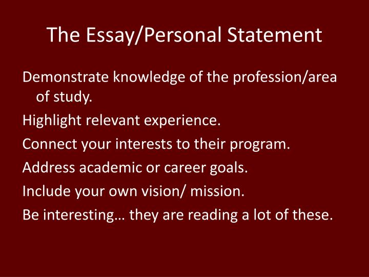 The Essay/Personal Statement