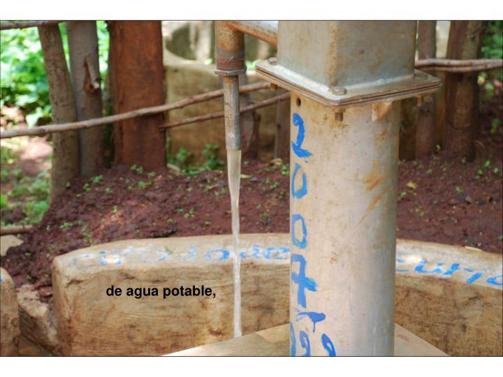 de agua potable,