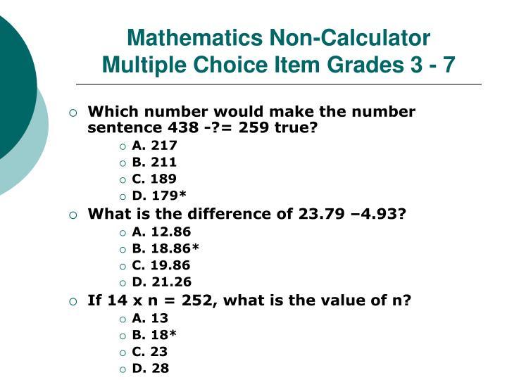 Mathematics Non-Calculator