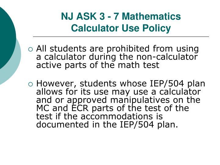 NJ ASK 3 - 7 Mathematics