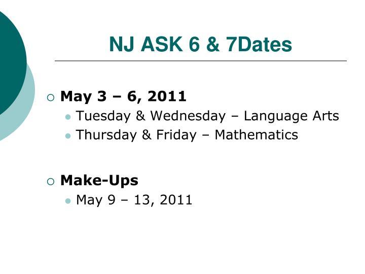 NJ ASK 6 & 7Dates