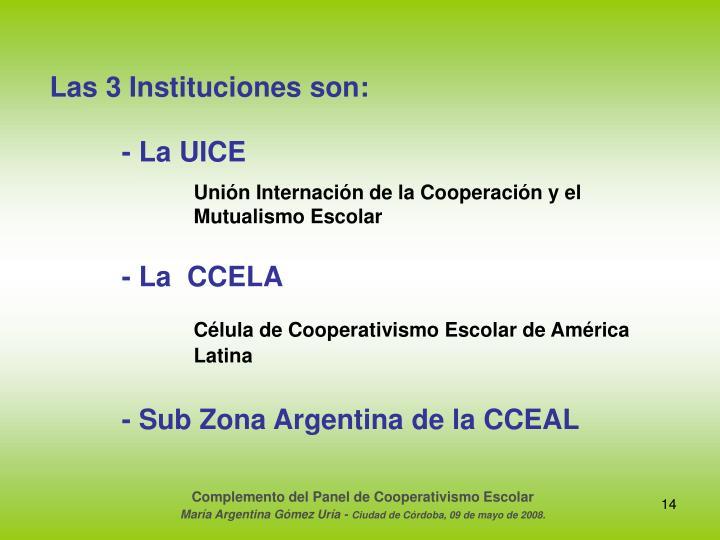 Las 3 Instituciones son: