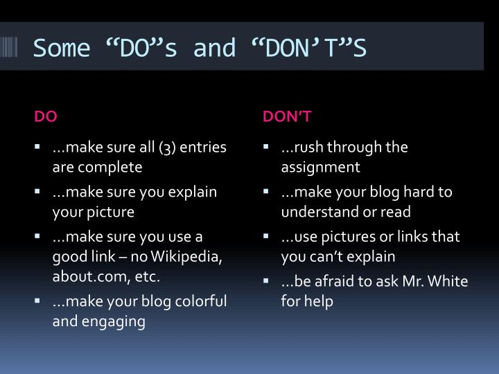 "Some ""DO""s and ""DON'T""S"