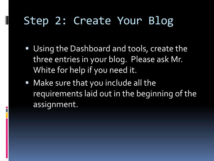 Step 2: Create Your Blog