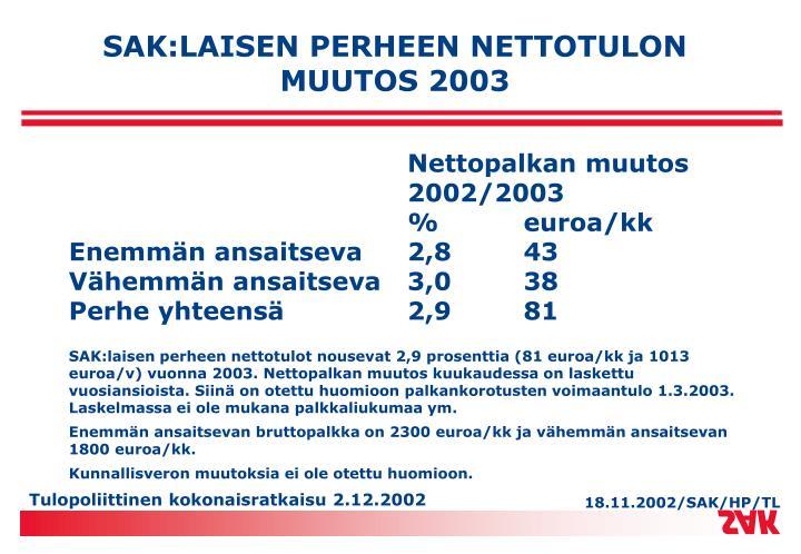 SAK:LAISEN PERHEEN NETTOTULON MUUTOS 2003